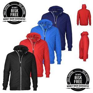 New Mens Raincoat Jacket Water Resistant Lightweight ShowerProof Hooded Zipper