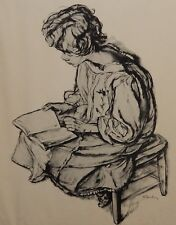 """SHELDON CLYDE SCHONEBERG """"WOMAN WITH BOOK"""" BLACK AND WHITE LITHOGRAPH"""