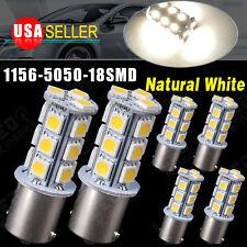 6x Natural White 1156 BA15S 5050 18smd RV Trailer Backup Reverse LED Light Bulbs