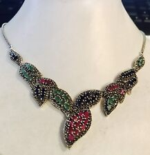 """$800!NATURAL DEEP BLUE SAPPHIRE, RUBY EMERALD STERLING 925 SILVER NECKLACE18"""""""