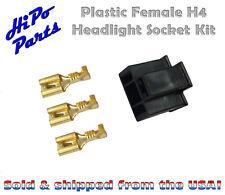 "Plastic Female H4 Headlight Socket Plug Kit w/ Terminals fits 7"" Round Lamps"