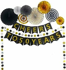 50th Birthday Party Supply Decorations Kit with Pre-Strung Banner Paper Fan