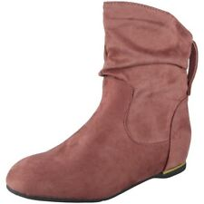 Womens Ladies Flat Faux Suede Slouch Low Heel Wedge Ankle BOOTS Shoes Size UK 7 / EU 40 / US 9 Pink