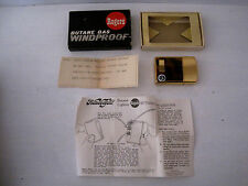 Vintage ROGERS Butane Gas Windproof Gold Plated Lighter w/Box & Manual-Japan