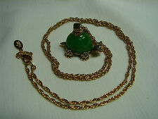 "JOAN RIVERS ""SLOW AND STEADY"" GREEN TURTLE PENDANT ON CHAIN NECKLACE  J154"