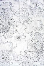 Cotton Voile Fabric White Printed Medallion with Silver Accents  Bfab