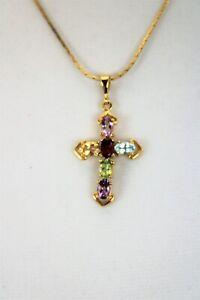 Gold Tone Crucifix Pendant with Semi-precious Gems Sapphires Topaz Amethyst