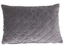 Cotton Velvet Cushion with Diamond Stitched Detail, 60 x 40cm, Grey