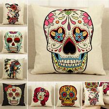 Vintage Gothic Sugar Skull Cotton Linen Throw Pillow Cases Cushion Cover Decor