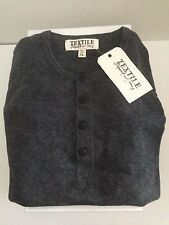TEXTILE BY ELIZABETH AND JAMES MENS HENLEY WOOL/CASHMERE GUNMETAL SWEATER