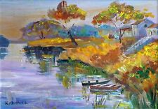 Boats on Lake at Twilight Village Houses Original Oil Painting Country Landscape