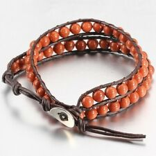 Brown Leather Bead Wrap Friendship Bracelet, With Brown Beads.