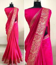 Sana Silk Jacquard Pink Saree and Blouse and Border Work South Indian Saree SS