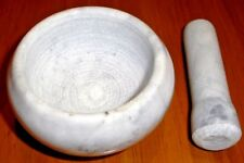 MORTAR AND PESTLE SET STONE Grey Marbled Small Herbs Spices Garlic Chili