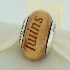 Authentic Pandora USB790705-G017 Minnesota Twins Baseball Wood Bead Charm