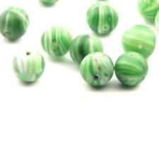 Vintage Czech glass beads Lot (16) Art Deco green white stripe marble round