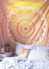 Yellow Orange Indian Mandala Tapestry Hippie Wall Hanging Queen Size Bedspread