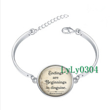 Endings are Beginnings glass cabochon Tibet silver bangle bracelets wholesale