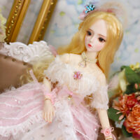 60cm BJD Doll 1/3 Fashion Girls Female Body + Face Makeup + Eyes + Wig + Outfits