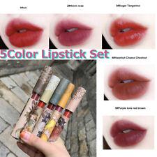 5 Color Lipstick Set Long Lasting Skull Face Matte Velvet Make-up Lip Gloss NEW