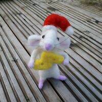 Needle Felted Mouse real wool with Christmas hat holding cheese ooak Xmas gift