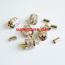 10X UHF male PL259 plug crimp for RG-8X RG8X LMR240 RG59 cable connector G