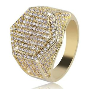 Frosted Ice Bling Bling Ring Men Rapper Hip Hop Jewelry Gold IP Simulate Diamond