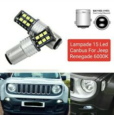 COPPIA LUCI DIURNE DRL 15 LED P21W BAY15D CANBUS JEEP RENEGADE 6000K NO ERRORE
