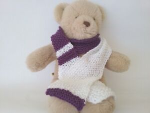 Teddy Bear Clothes, Purple and White Hand Knitted Scarf