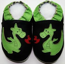 Minishoezoo soft sole baby leather shoes toddler dragon black 24-36m