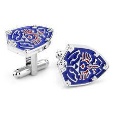 Classic Men's Shirt Blue Shield Cufflinks Unique Wedding Party Gift Cuff Links