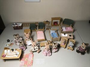 Huge Lot Of Calico Critters Epoch Furniture Figures Baby Accessories