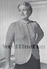 "Vintage Knitting Pattern Lady's 1940s Cable Design Jacket/Cardigan.42""-44"" Bust."