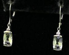14K white gold 4.06CT diamond & aquamarine drop dangle earrings