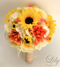 17Piece Package Silk Flower Wedding Bridal Bouquet Sunflower Rustic CORAL YELLOW