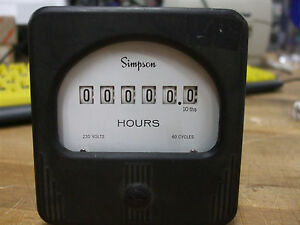 Simpson hour panel meter 230VAC 60Hz [11-V]