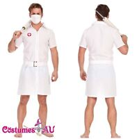 Adult Mens Twisted Joker Nurse Fancy Dress Halloween Zombie Costume Doctor