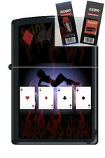 Zippo 9805 poker lady 4 aces Lighter with *FLINT & WICK GIFT SET*
