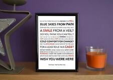 Framed - Pink Floyd - Wish You Were Here - Poster Art Print - 5x7 Inches