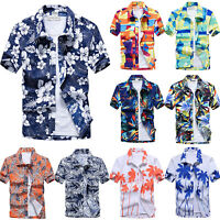 Men Casual Short Sleeve Blouse Hawaiian Shirts Summer Beach Holiday T Shirt Tops