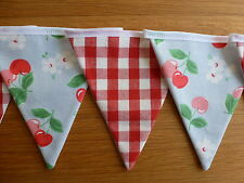 Bunting Handmade Cath Kidston Cherry Blue and Laura Ashley Red Gingham Fabric