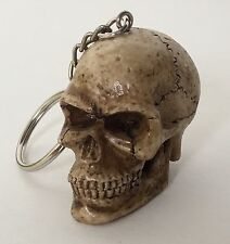 1- Skull Head Keychain Ring 3D Skeleton Head Brown Bone Biker Skulls Motorcycle