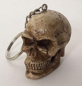 1- Skull Head Keychain Ring 3D Skeleton Head Brown Bone Biker Skulls Motorcycle
