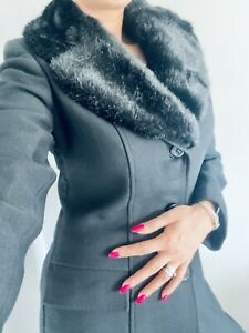 Debenhams Nuage Black Long Wool Coat | Size 10 Rrp.£140