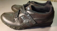 Skechers Women Leather Metalic Gray Athletic Running Sneakers Slip On Shoes 9.5M