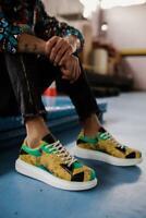 Neuf Knack 044 Baskets Jamaika Imprimé Chaussures Décontractées Hommes