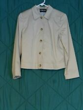 SAG HARBOR Petite Lined Tan Stretch Jacket Size 8 Petite Blazer Button Front