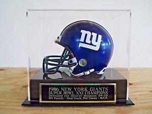 New York Giants Football Mini Helmet Display Case W/ A Super Bowl 21 Nameplate