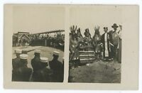 RPPC 2 Views of Indian Natives, Wild West Show??? Vintage Real Photo Postcard