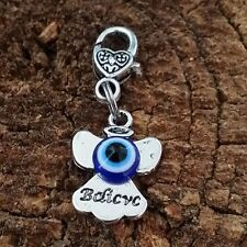 "Believe Guiding Angel Blue Evil Eye Dangle Clip Charm Healing pendant 1"" Heart"